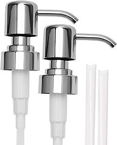 ULG Soap Pump Plastic Lotion Dispenser Polished Chrome Replacement Pump for Dimension 26.3-27.3mm Bottles 2 Piece
