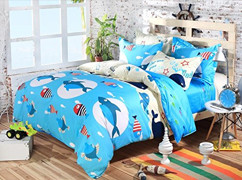 Cliab Ocean Full Size Bedding Shark Full Bedding Shark Sheets Full Duvet Cover Set 100% Cotton 5 Pieces (Shark Full Size Sheets compare prices)