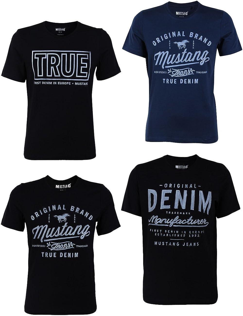 Mustang 4er Pack Herren T-Shirt mit Frontprint und Rundhalsausschnitt Farbmix Blau und Schwarz