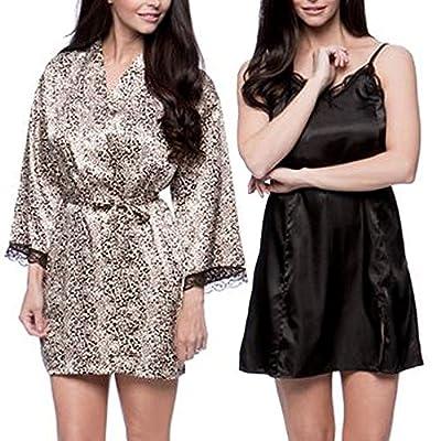 Aegean Apparel Women's Satin Silky Sleepwear & Loungewear 2-Pc Robe Chemise Set