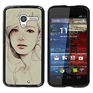Exotic-Star ( Painting Sad Depression Woman ) Fundas Cover Cubre Hard Case Cover para MOTO X / XT1058 / XT1053 / XT1052 / XT1056 / XT1060 / XT1055