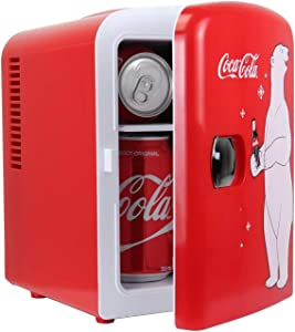 Coca-Cola New Red Polar Bear Portable 6 Can Thermoelectric Mini Fridge Cooler/Warmer, 4 L/4.2 Quarts Capacity, 12V DC/110V AC Plugs Included Great for Home, Dorm, Car, Boat, Beverages, Skincare, Cosmetics, Medication, ETL Listed