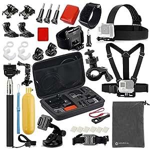 VANWALK Basic Common Accessories for GoPro HERO5 Session 4/3+/3/2/1 Camera, DBPOWER, AKASO, Canany, Lightdow, SJCAM, APEMAN, Campark, ODRVM, Xiao mi Yi 2/4K Action Video Cameras (FOR Cymas)