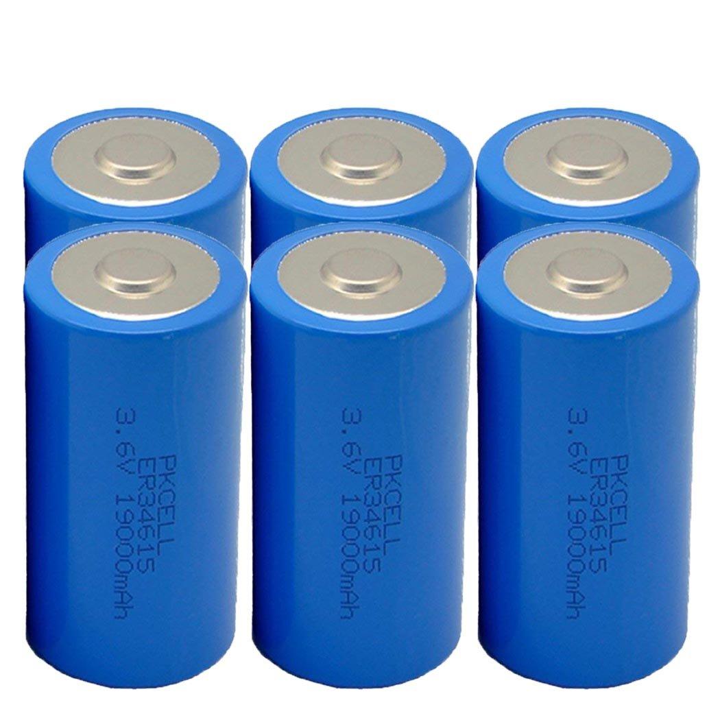 3.6V D Cell 19000mAh ER34615 Li-Socl2 Lithium Battery (6 Pack) by PKCELL