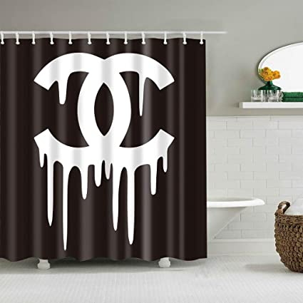 Image Unavailable Not Available For Color Nymphia Shower CurtainBlack White Paint Off Logo Chanel