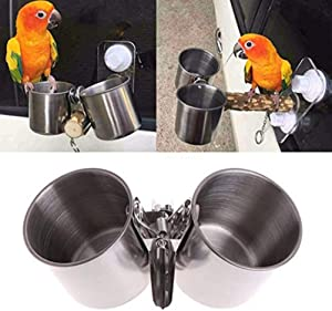 POPETPOP Bird Cage Water Dish-Food & Water Feeding Bird Double Cups with Clip Stainless Steel Parrot Feeder Cup(Silver)