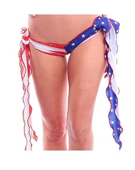 Made in the USA. BodyZone Apparel American Flag Tie Side Scrunch Butt Shorts