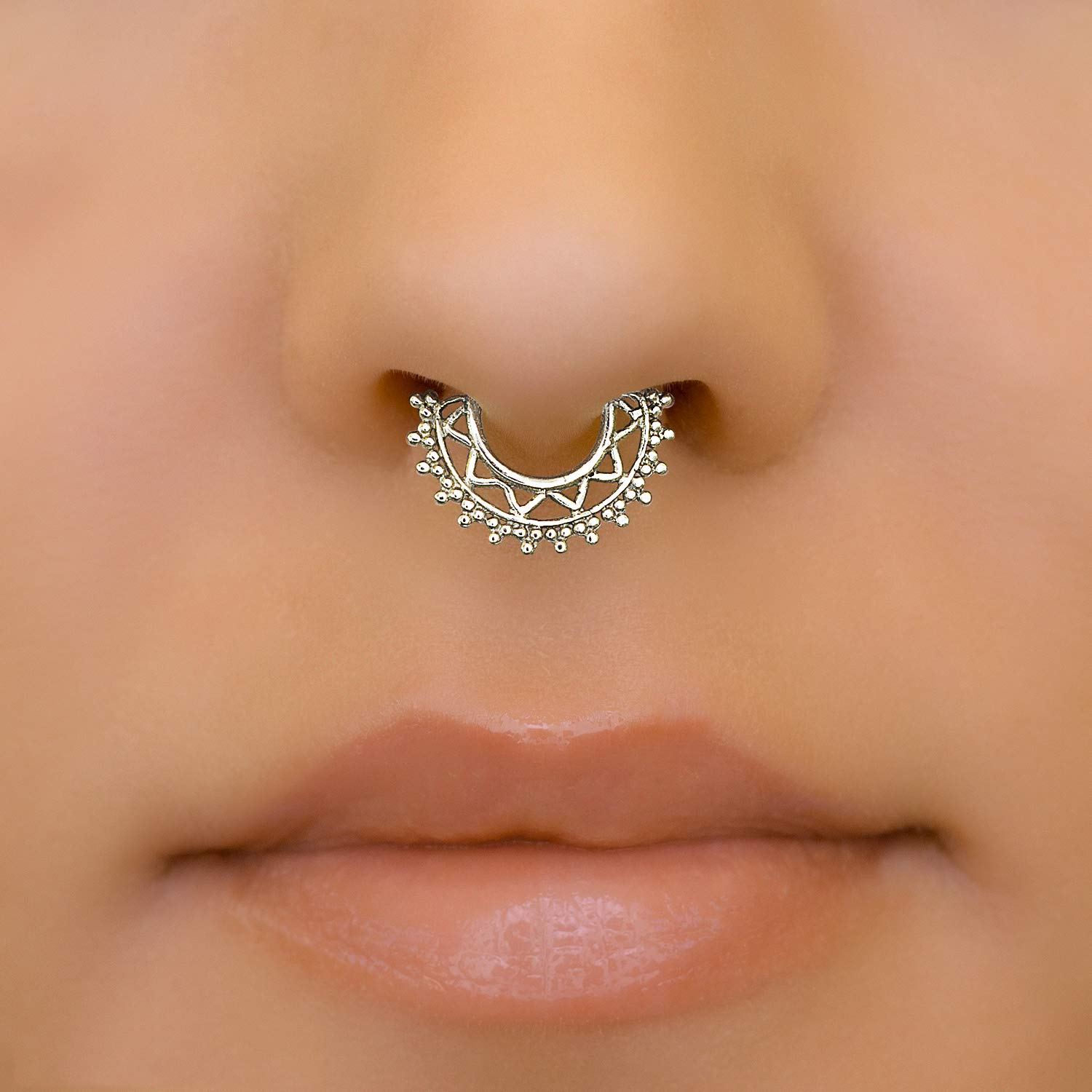 Amazon Com Fake Septum Nose Ring Sterling Silver Indian Tribal