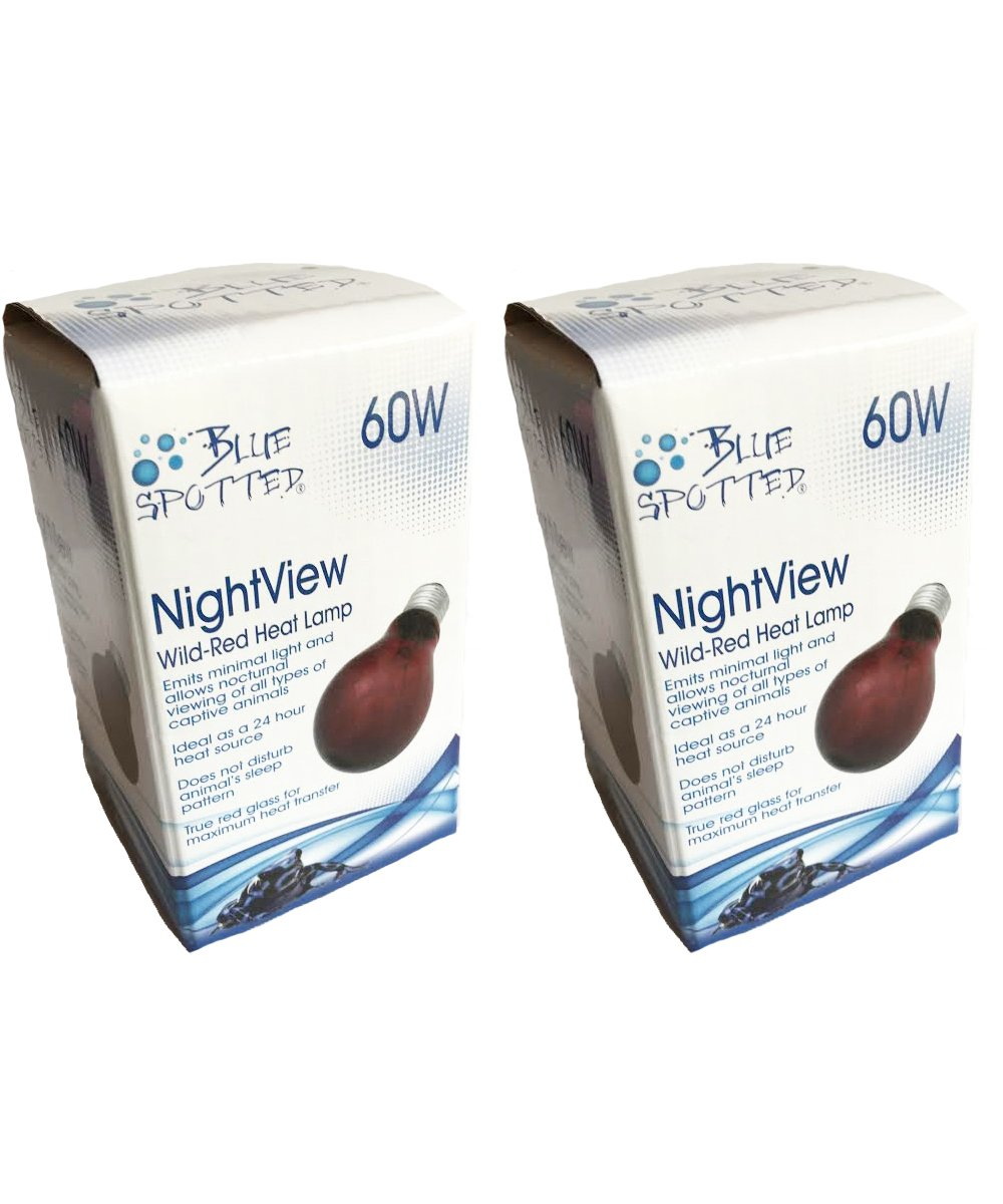 Blue Spotted 2 Pack NightView Wild-Red 60 Watt Infrared Heat Lamp (Bulb) Reptile Night Light for Viewing, Heating and Night Light for Reptile -Your Terrarium Pet Reptiles and Amphibians!