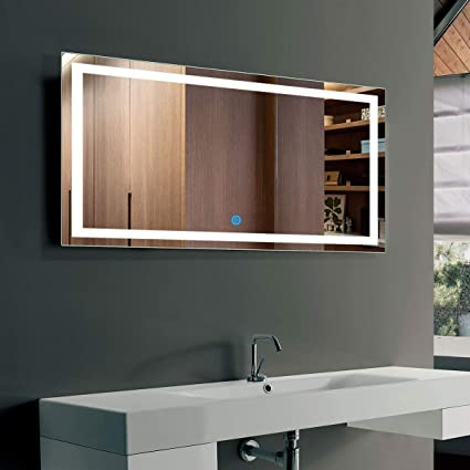 DP Home LED Lighted Rectangle Bathroom Mirror, Modern Wall Mirror with  Lights, Wall Mounted Makeup Vanity Mirror Over Cosmetic Bathroom Sink 40 x  24
