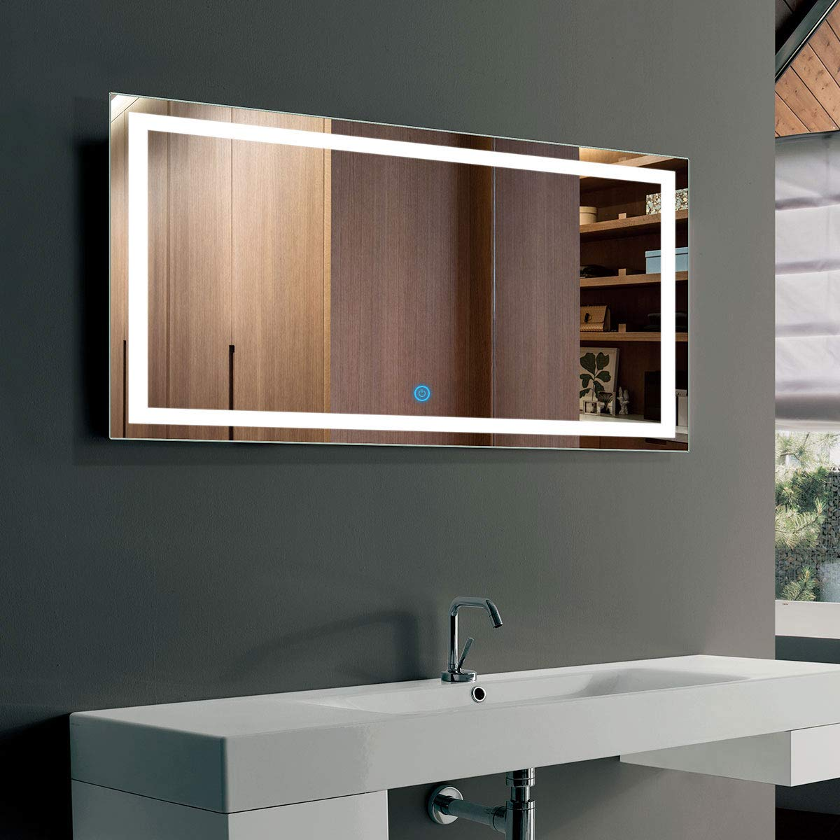 DP Home Horizontal LED Bathroom Silvered Mirror with Touch Button, 40 x 24 In(E-CK010-G)