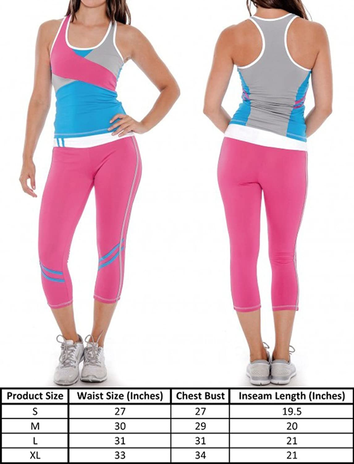 e1808c594500fc Enimay Women's Active Sport Workout Yoga Stretch 2 Piece Tank & Pant Set  Outfit at Amazon Women's Clothing store: