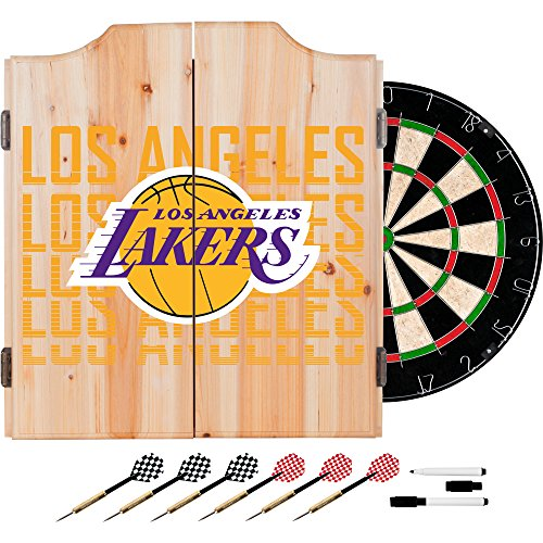 Trademark Gameroom NBA7010-LAL3 NBA Dart Cabinet Set with Darts & Board - City - Los Angeles Lakers by Trademark Global