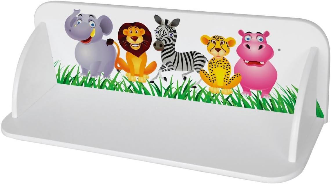 LEOMARK Estante De Pared Para Niños Estantes Estantería Madera Para Los Juguetes y Libros Universal Muebles Para Bebé Impresión Colorida De Alta Calidad Tiere Zoo Safarii