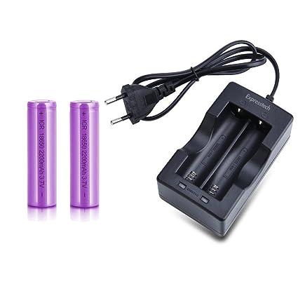 Expresstech @ 2x Pila 18650 batería recargable 2200mAh 3,7V ...