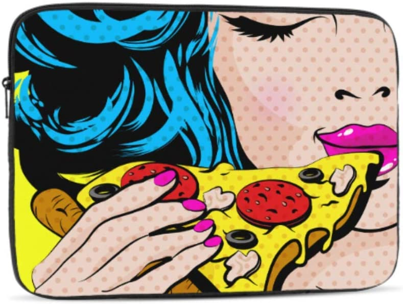Designed to Fit Any Laptop//Notebook//ultrabook//MacBook with Display Size 11.6 Inches Pop Art Young Woman Eating Pizza Pattern Neoprene Sleeve Pouch Case Bag for 11.6 Inch Laptop Computer