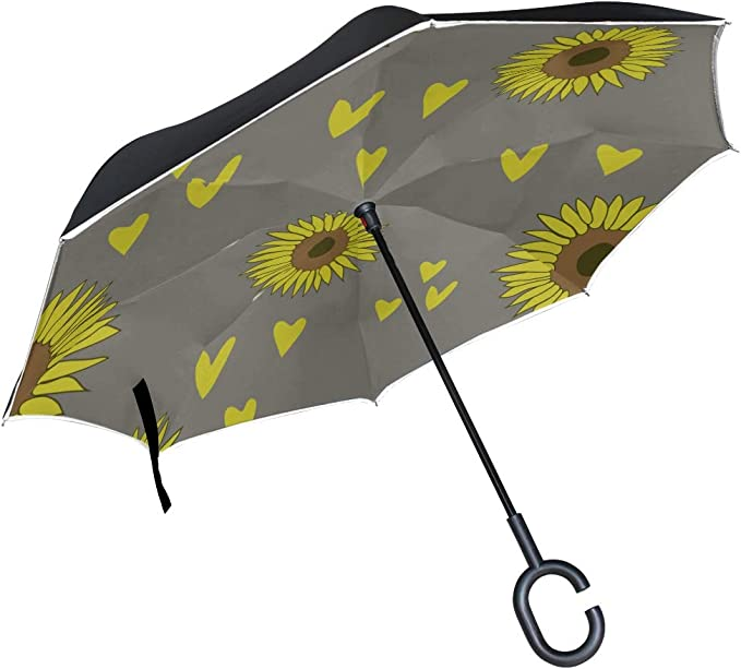 Double Layer Inverted Inverted Umbrella Is Light And Sturdy Slowers Pattern Spring Blossom Reverse Umbrella And Windproof Umbrella Edge Night Reflect