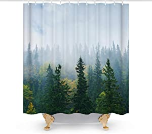 Outdoor Nature Birch Pine Trees Theme Shower Curtain Fabric Sets Bathroom Decor with Hooks Waterproof Washable 72 x 72 inches Dark Green