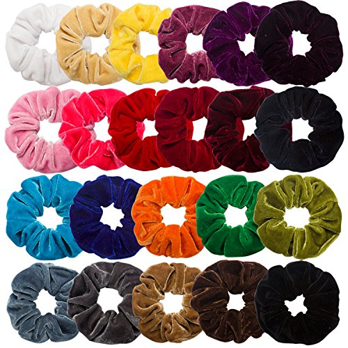 Cubaco Elastic Hair Scrunchies For Women Girls, 22 Packs Hair Bands Velvet Scrunchy Bobbles Hair Ties Ponytail Holder, 22 Colors ()