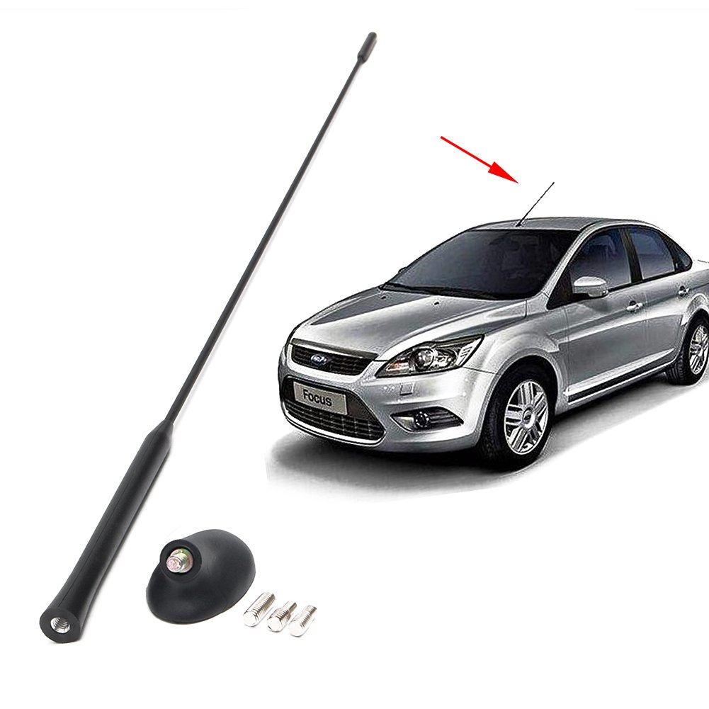 flower 205 Voiture Radio Antenne FM Radio Antenne AM/FM Antenne Mâ t + Base Pour Ford Focus Modè les 2000-2007