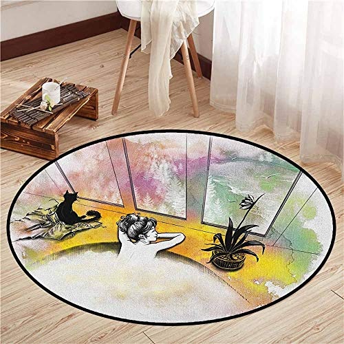 (Area Round Rugs,Modern,Girl with Cat Taking Bath Spa Aroma Theraphy Relaxing Peaceful Massage Illustration,Anti-Slip Doormat Footpad Machine Washable,4'7