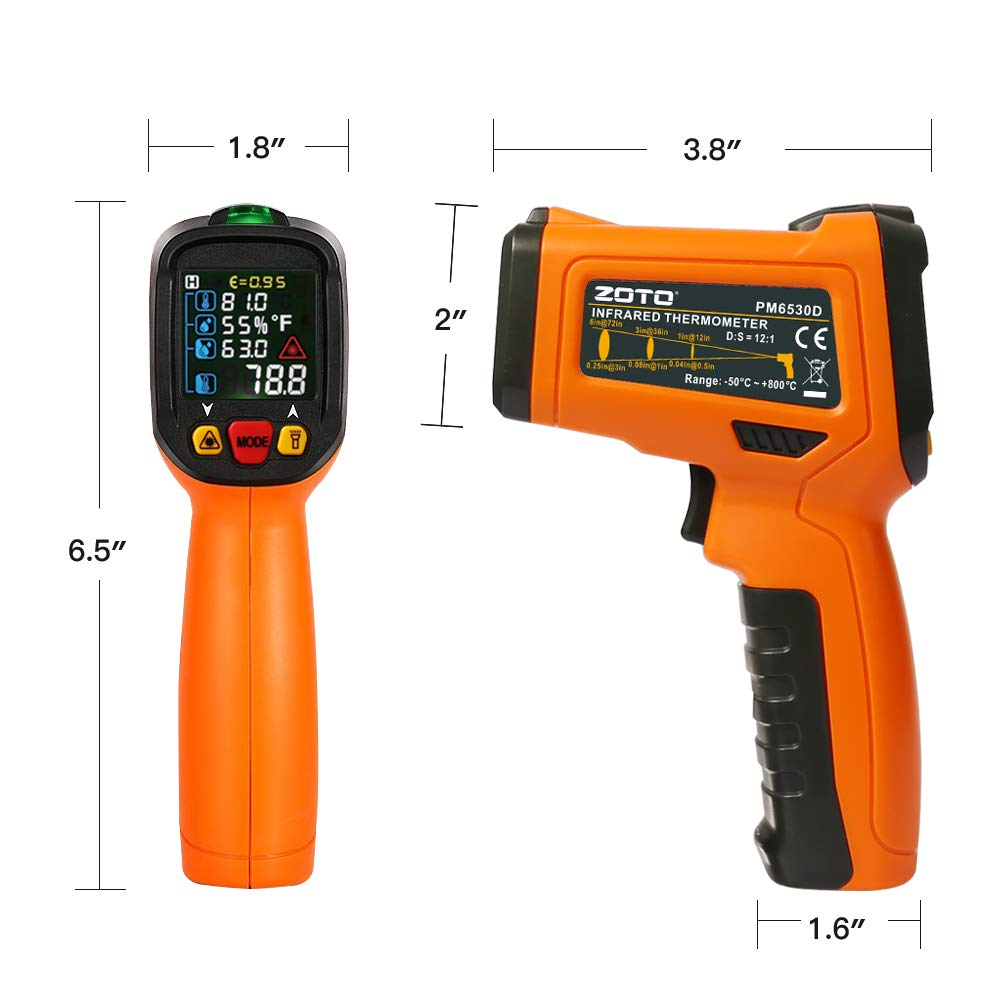 Digital Laser Infrared Thermometer,ZOTO Non Contact Temperature Gun Instant-read -58 ℉to 1472℉with LED Display K-Type Thermocouple for Kitchen Cooking BBQ Automotive and Industrial PM6530D Thermometer by ZOTO (Image #2)