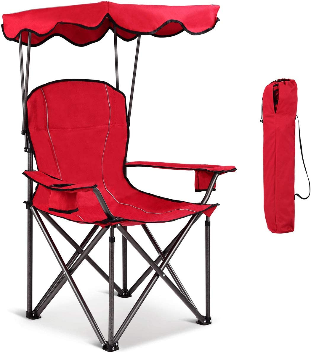 Goplus Outdoor Canopy Chair, Heavy Duty Camping Chair Durable Folding Seat w Cup Holder and Carry Bag Red