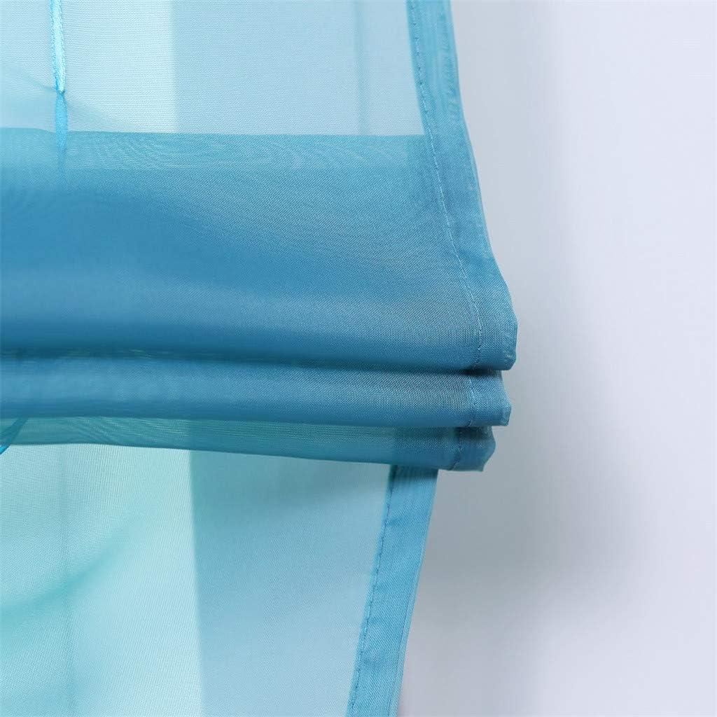 bianco trasparente 1 pezzo 100/% poliestere BxH 140x140cm ESLIR Tenda a pacchetto con passanti con passanti stile moderno con ricamo per la cucina