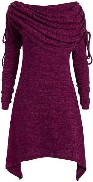 XL 3XL Kleid Longpullover Tunika Minikleid mit Kapuze Gr L 2XL M