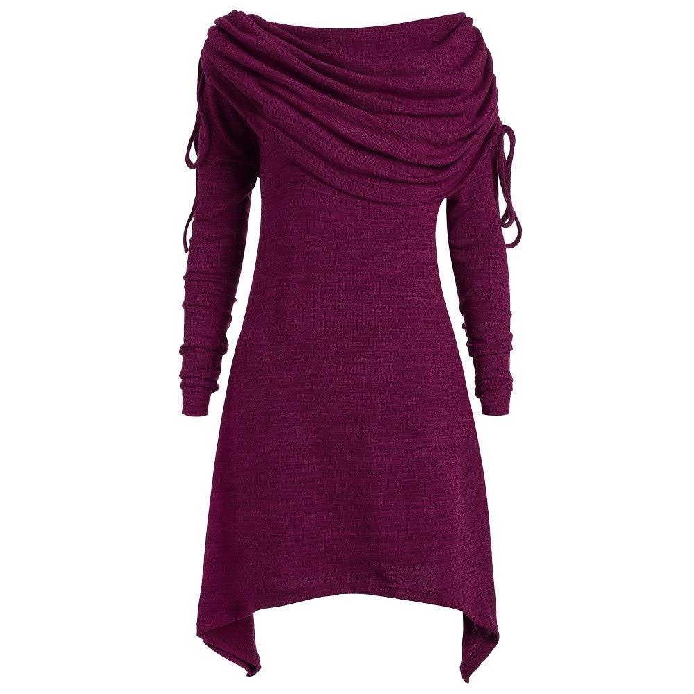 Sweatshirts Women KYLEON Plus Size Fashion Solid Ruched Long Foldover Collar Tunic Top Blouse Purple by KYLEON_Sweatshirts
