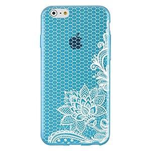 "Funda TPU Azul Transparente Flores blancas Apple iPhone 65,5"""