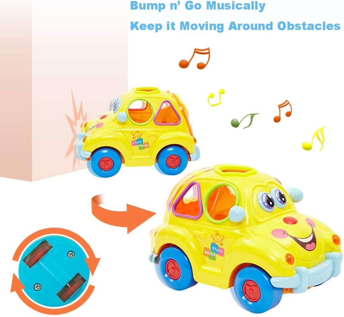 Early Developmental Educational Learning Montessori Toy for 1 2 3 Year Old Girls Boys Toddlers Kids HOLA Musical Car Toy Fruit Shape Sorter Omni-Directional Wheels Cute Car with Music//Lights//Blocks