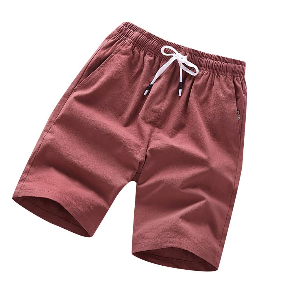 NUWFOR Men's Summer Fashion Pure Color Casual Loose Belt Drawstring Beach Shorts Pants(Red,US M Waist:28.7-41.7'')