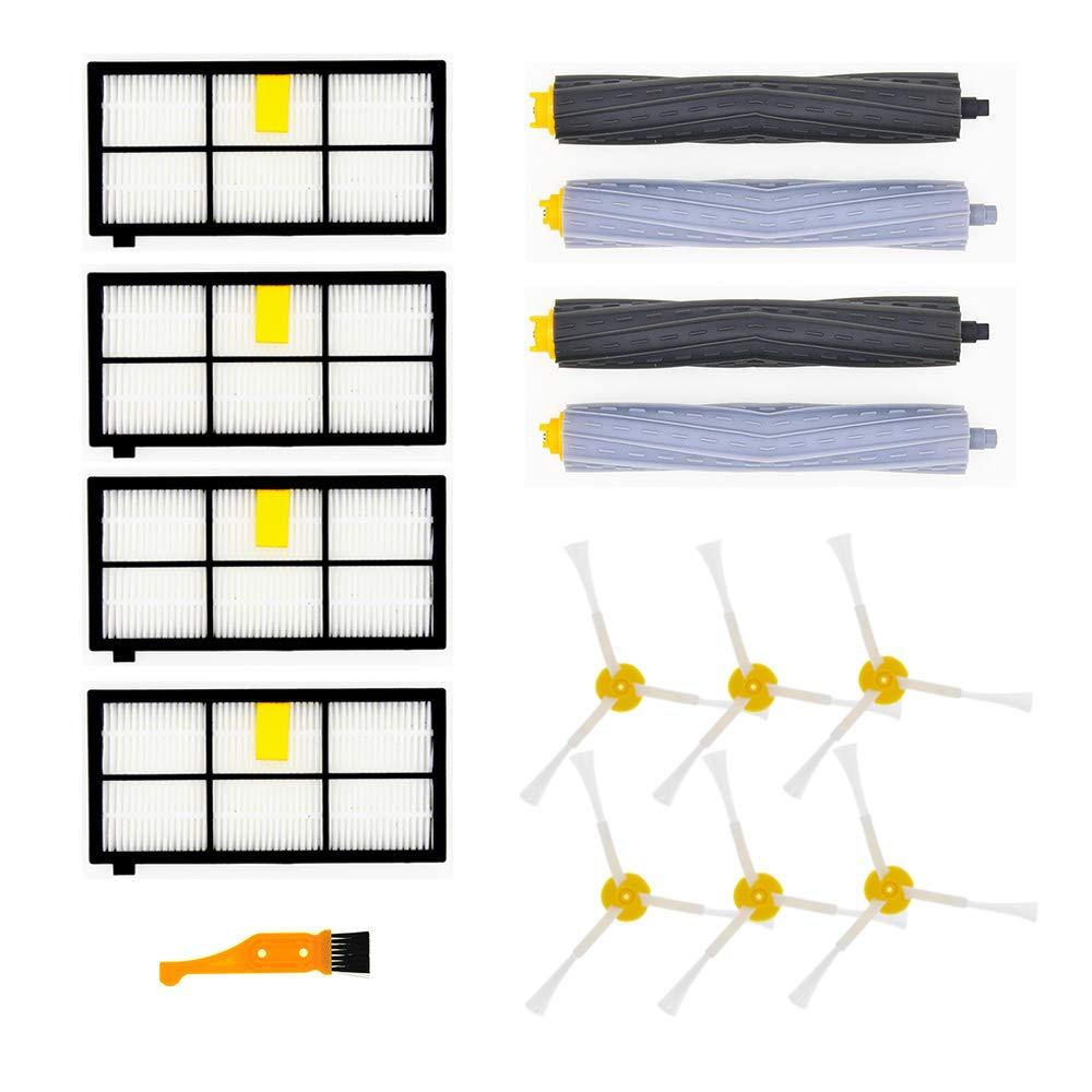 UnitedGene Piezas de Repuesto Roomba para iRobot Roomba Serie 800 900 2 Cepillo Principal y 6 Quemaduras Laterales y 4 filtros para Robotic Aspiradora ...