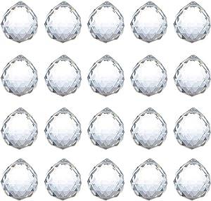 Adwikoso Crystal Ball Prism Pendant, Glass Chandelier Hanging Pendant, Photography Prism, Feng Shui Rainbows Sun Catchers, Wedding Home Window Garden Decor (30mm-20pack)