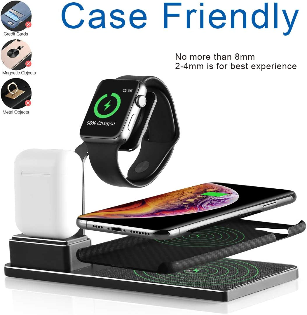 iPhone Charging Station CESCOM 3 in 1 Wireless Charger for iPhone 11//11 Pro//XS//Xs Max//XR//X//8+ iWatch Series 4//3//2//1 and Airpods QC 3.0 Adapter Included
