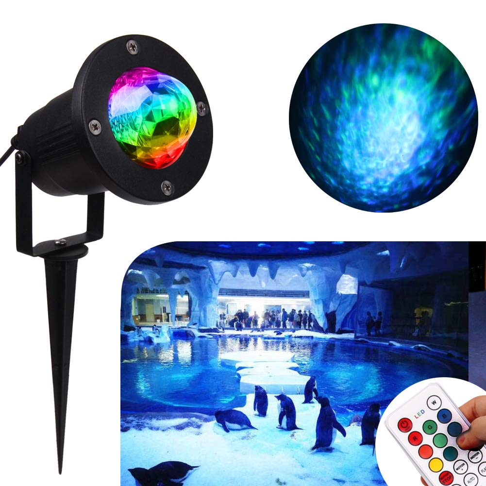 Water Wave Lights Laser Projector - KOOT Outdoor Waterproof LED Ripple Garden Lights RGBW 10 Colors Water Effect or Flame Fire Effect with Remote for Christmas Halloween Indoor Wedding Party Holiday by KOOT