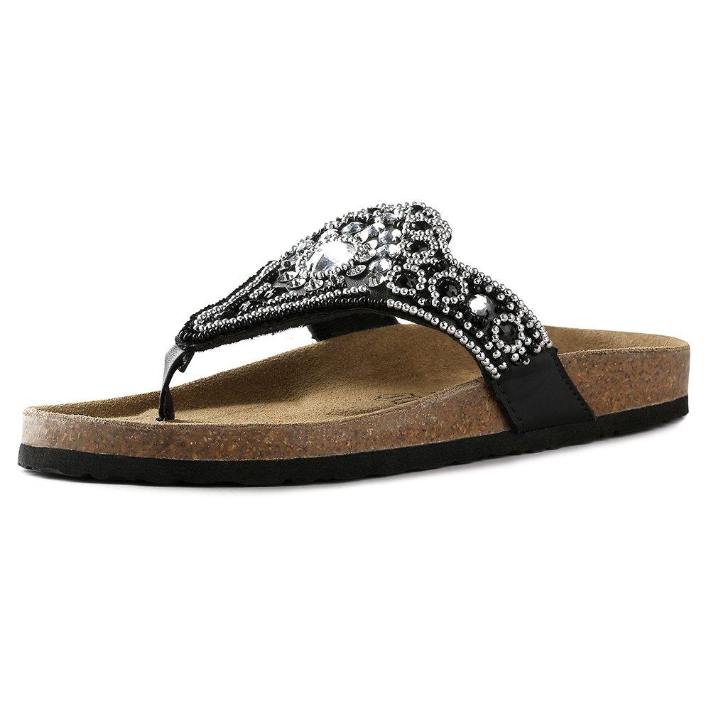 VVFamily Womens Bohemian Summer Sandals Flip Flop Thong Rhinestone Beaded Dressy Slippers (EU39, Black PU)