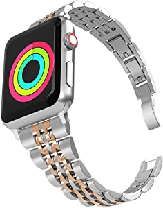 Aizilasa Band Compatible with Apple Watch 40mm SE/Series 6/5/4, iWatch Bands 38mm Series 3 2 1 for Women Men Stainless Steel Bracelet Adjustable Metal Strap Wristbands (Silver&Rose Gold-38mm/40mm)