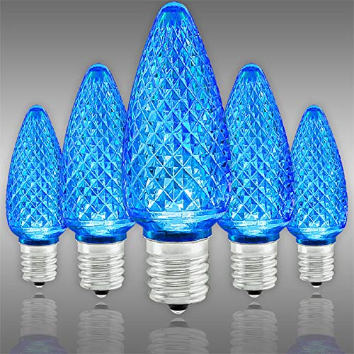 (C9 LED - VividCore - Blue - Faceted Finish - Christmas Light Replacement Bulb - Intermediate Base - Pack of 25)
