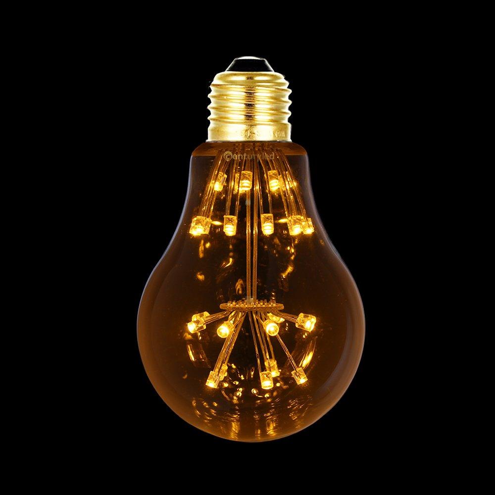 Century Light - LED Vintage Edison Bombilla Estrella A60 3W Cálido Blanco 2200K decoraciones de Fiesta Navidad , Culot E27 Graduables , Lot de 4: Amazon.es: ...