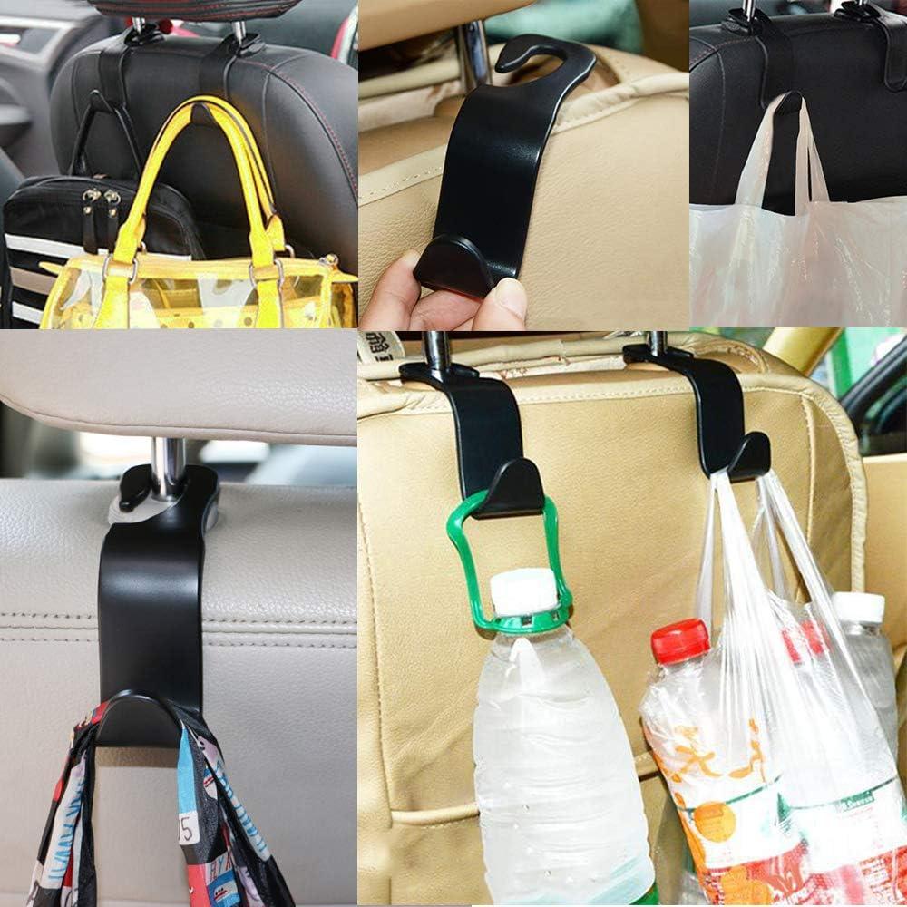 Eighty 4pcs Car Vehicle Back Seat Headrest Hook Hanger-Car Seat Headrest Hooks Seat Headrest Hook Hanger-Strong Durable Storage Hook for Groceries Bag Handbag