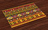 Lunarable Tribal Place Mats Set of 4, Geometric Ethnic Aztec Style African Pattern with Colorful Shapes Folk Art Design, Washable Fabric Placemats for Dining Room Kitchen Table Decor, Multicolor