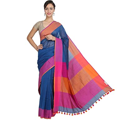 ee2d471a78 Image Unavailable. Image not available for. Colour: Tanya Blue with Pink  and Orange Double Color Border Pure Khadi Cotton Saree