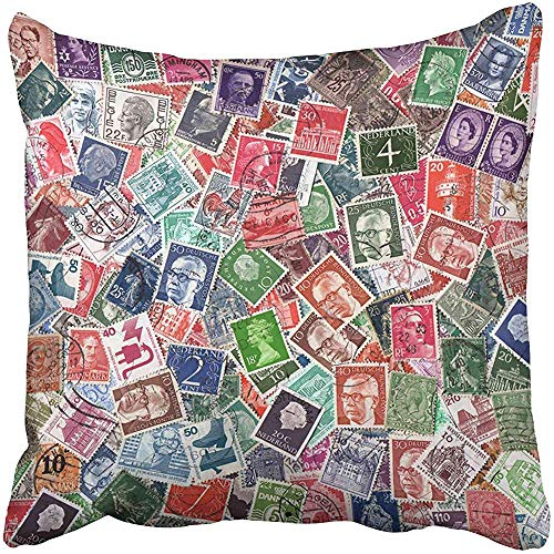 - Decorative Throw Pillow Case Cushion Cover Europe Circa 1950 2000 of Definitive European Postage Stamps Including from Germany 18x18 inch Cases Square Pillowcases Covers Two Sides Print
