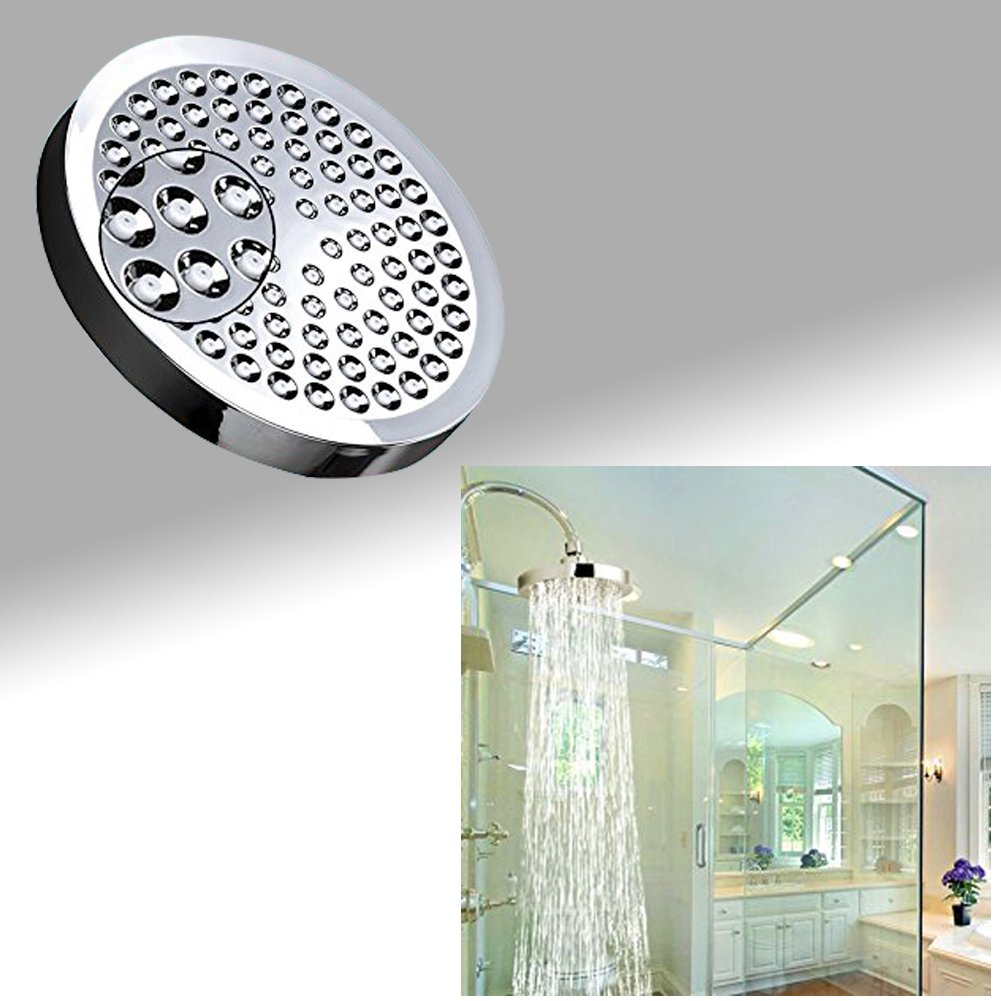 Basong High Pressure Flow Fixed Chrome Luxury Spa Chrome Shower Head Adjustable Metal Swivel Ball Joint Removable Water Restrictor Easy Installation(8 Inches)