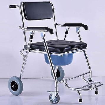 silla de inodoro Con Ruedas De Aluminio, Asiento De Inodoro MóVil Reforzado, Silla De