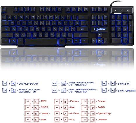 Docooler Gaming Keyboard Russian English USB 3 Backlight Modes Floating Keycaps LED Backlit Teclado Gamer 19 Keys Conflict-Free
