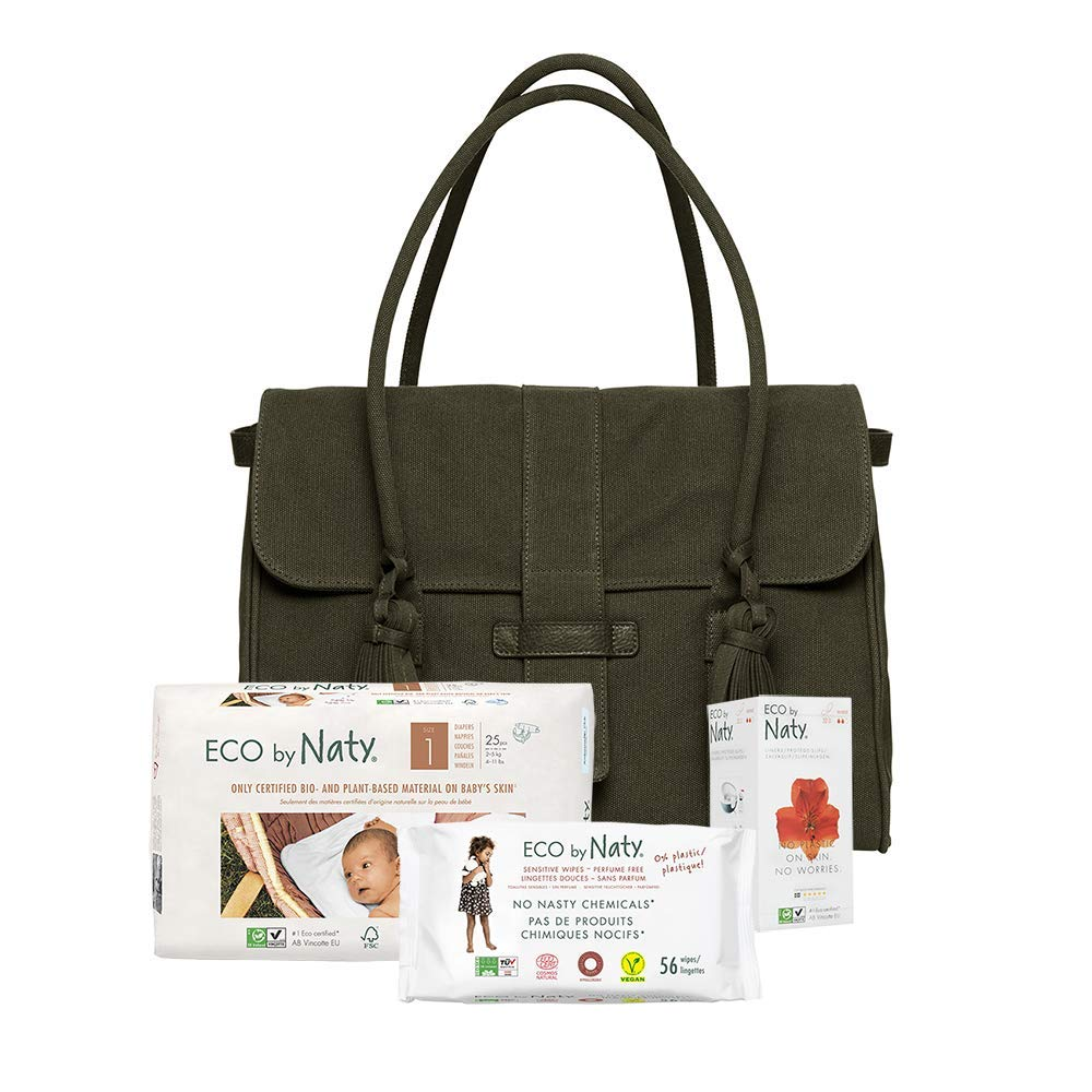 Eco by Naty Diaper Bag Made of GOTS Certified Organic Cotton, Green (Contains Pockets and Magnetic Closure)