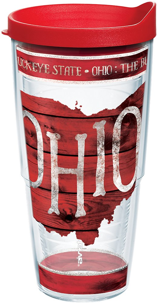 16oz Clear Tervis 1217218 Ohio Outline Insulated Tumbler with Wrap and Red Lid
